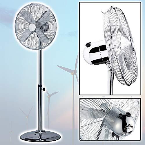 TradeShopTraesio - Ventilatore A PIANTANA Cromato 4 Pale 40CM OSCILLANTE 3 Velocita' H 115 CM 60 W