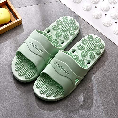 B/H Sandalias de baño Antideslizantes,Zapatillas de Masaje de pies para el hogar, Enfriador Antideslizante para bañarse en el baño-Mujeres Green_38-39,Zapatillas de Ducha para Mujer EVA