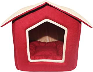 Mellifluous Foldable Velvet Fabric Dual Color House/Hut for Dogs & Cats (Small, Red-Cream)