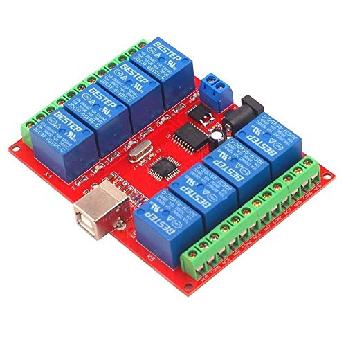 CLJ-LJ Relay, 8 Channel 24V Computer USB Control Switch Free Drive Relay Module PC Intelligent Controller