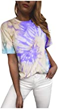 Xinantime Womens Tie-Dyed T-Shirts Casual O Neck Short Sleeve Hipster Summer Shirts Loose Daily Print Blouse Top Tunic