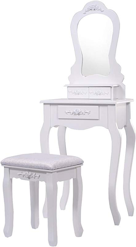 KCHEX White Vanity Jewelry Makeup Dressing Table Set W Stool Drawer Mirror Wood Every Girl Wishes To Have A Glamorous Dressing Table With All Her Jewelry And Make Up Don T Hesitate Let Us Come Your