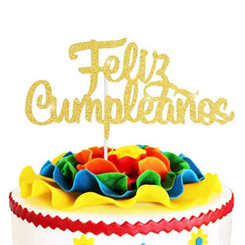 Spanish Feliz Cumpleaños Cake Topper - Gold Glitter Happy Birthday Fiesta Adorno De - Adult Ceremony Baby Shower Kids Birthday Party Decoration