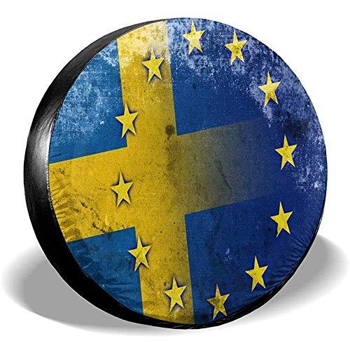 Schweden und Europäische Union Flagge Ersatzreifen Radkappe wasserdichte staubdichte Universal-Reifenabdeckungen - viele Fahrzeuge 14 15 16 17 Zoll