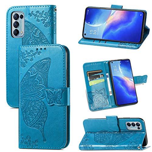 JIUNINE Hülle für Oppo Find X3 Lite 5G, Handyhülle Leder Flip Hülle mit Schmetterling Muster [Kartenfach] [Magnetverschluss] Schutzhülle Tasche Cover Lederhülle für Oppo Find X3 Lite 5G, Blau