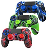 SunAngel Soft Silicone Thicker Half Skin Cover for PS4 /SLIM /PRO Controller Set (Skin X 3 + Thumb Grip X 6)