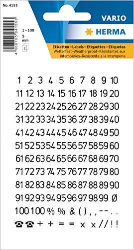 HERMA 4155 Zahlen Aufkleber 0 - 9, wetterfest (Schriftgröße 5 mm, 2 Blatt, Folie) selbstklebend, permanent haftende Ziffern Sticker, 250 Etiketten, transparent / schwarz