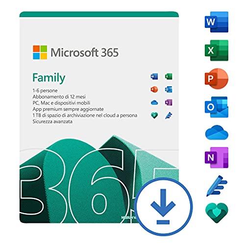 Microsoft 365 Family | fino a 6 persone| 1 abbonamento annuale | PC/Mac | Codice di attivazione via email