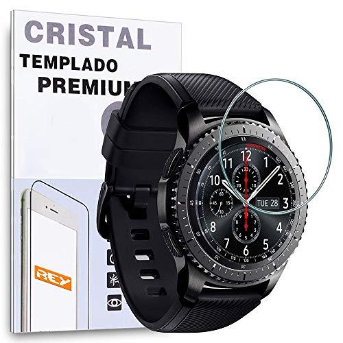 REY Protector de Pantalla para Samsung Gear S3, Cristal Vidrio Templado Premium