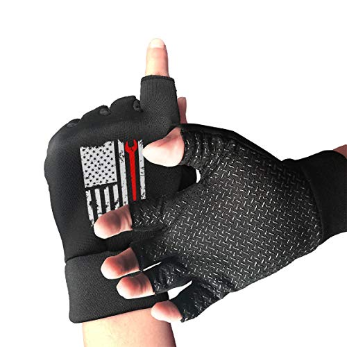 Unisex Ironworker American Flag Fingerless Gloves for Computer Typing and Daily Work