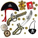 Robelli Enfants Pirate Accessoire déguisement Ensemble (épée ,Pistolet & Cache )