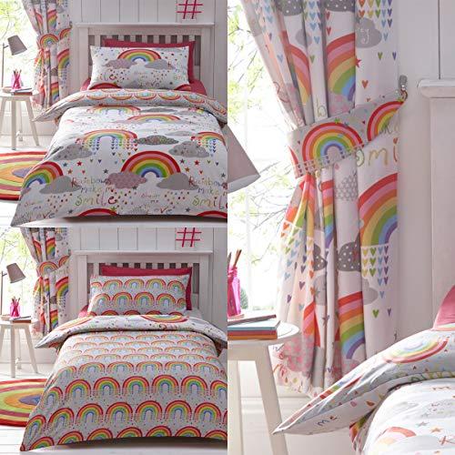 Kids Club - Tende con nuvole e arcobaleni, 168 x 183 cm, colore: Bianco