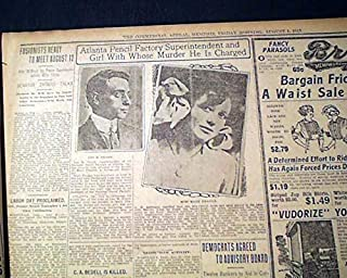 Jewish LEO FRANK Trial Mary Phagan Atlanta Ga MURDER Case Photo 1913 Newspaper THE COMMERCIAL APPEAL, Memphis, August 1, 1913