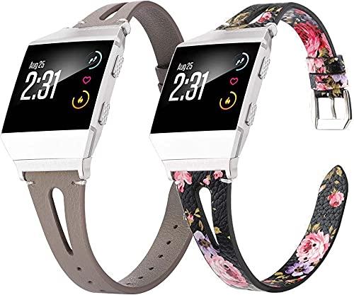 Gransho Piel Correa de Reloj Compatible con Fitbit Ionic, Correa/Banda/Pulsera/Recambio/Reemplazo/Strap de Reloj (Pattern 2+Pattern 5)