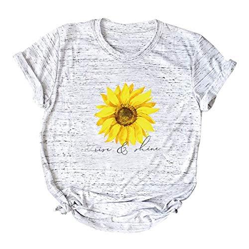"""Camiseta de manga corta para mujer, casual, verano, diseño de girasol, con texto en inglés """"Life and Shine"""" Gris gris XXX-Large"""