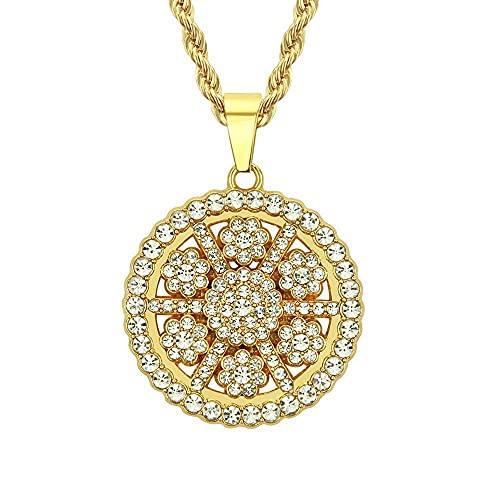 Hip Hop diamantes de imitación hormigón Bling helado flor ciruela colgante redondo collar para mujeres hombres joyería