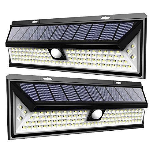 YUYANDE Aplique al aire libre solar con control remoto, gran angular de 270 °, lámpara de pared impermeable IP65, luz de pared de seguridad fácil de instalar para puerta principal, patio, garaje, terr
