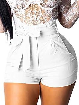 GOBLES Womens Summer Casual Shorts High Waist Ruffle Bow Tie Shorts White