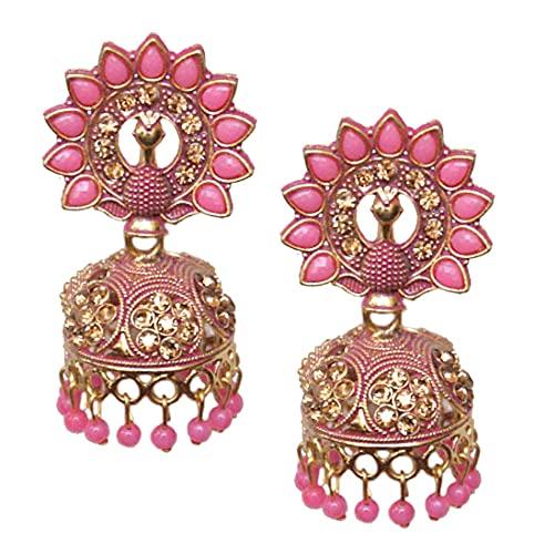 Pahal Jaipur - Pendientes de Jhumka con perlas rosadas pintadas en oro grande, diseño de pavo real, indio, Bollywood, para fiesta, joyería para mujer