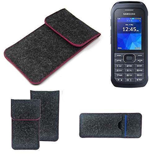 K-S-Trade Filz Schutz Hülle Für Samsung Xcover 550 Schutzhülle Filztasche Pouch Tasche Hülle Sleeve Handyhülle Filzhülle Dunkelgrau Rosa Rand