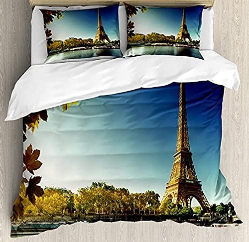 HSBZLH Juego De Funda Nórdica De 3 Piezas Torre Eiffel, Sena En París con Torre Eiffel Hojas De Otoño Juego De Ropa De Cama Decorativa con Paisaje Junto Al Río, con 2 Fundas De Almohada