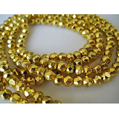 LOVEKUSH cuentas raras de pirita piedra de piedra, pirita de oro, microfacetado recubiertas Rondelle, perlas de 3,5 mm, hilo de 14 pulgadas, al por mayor BeadsCode-RM1040