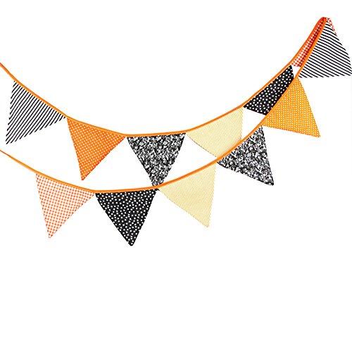 Nikgic Wimpeln Wimpelkette mit 12 Wimpel Baumwolle Fahnen Banner Länge 3.2m Schwarz Orange Halloween Party Dekoration