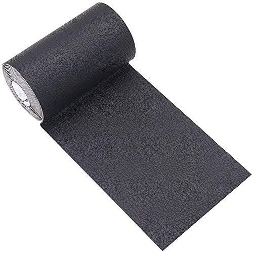 Panngu Schwarz Leder Patch Kit Selbstklebende Lederflicken, Premium Selbstklebender Leder Reparatur Patch, Für Couch Sofa Risse, Verbrennungen, Autositze Zubehör (7.6cm * 152cm)