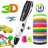 3D Pen, TOPELEK 3D Printing Pen with 18 Color Kid-Safe PLA Filaments, LED