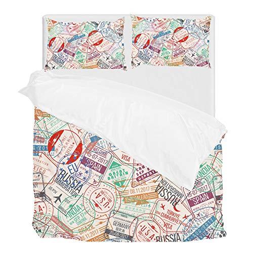 Find Sun Passport Stamp International Arrivals Duvet Cover Set Full Bedding Set Covers 1 Duvet Cover and 2 Pillow Shams Without Comforter