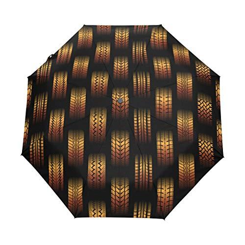 SUHETI Regenschirm Taschenschirm,Orange Nahtloser Hintergrund unterschiedliche Reifen Bahn,Auf Zu Automatik,windsicher,stabil