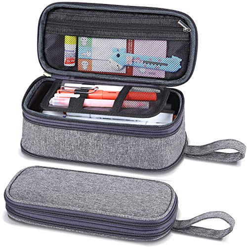 "Pencil Case Big Capacity, Ohuhu Fordable Pen Case for Pen Pencil Marker Stationery, Large Handheld Storage Bag Holder Desk Organizer Pencil Pouch with Zipper for School & Office 8.66""x3.93""x3.14"" Gray"