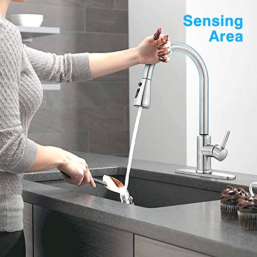 Touch Kitchen Faucet with Pull Down Sprayer, MSTJRY Stainless Steel Kitchen Sink Faucets with Pullout Sprayer, Faucets for Kitchen Sinks