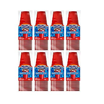 Hefty Party On Disposable Plastic Cups Red 18 Ounce 25 Count  Pack of 8  200 Cups Total