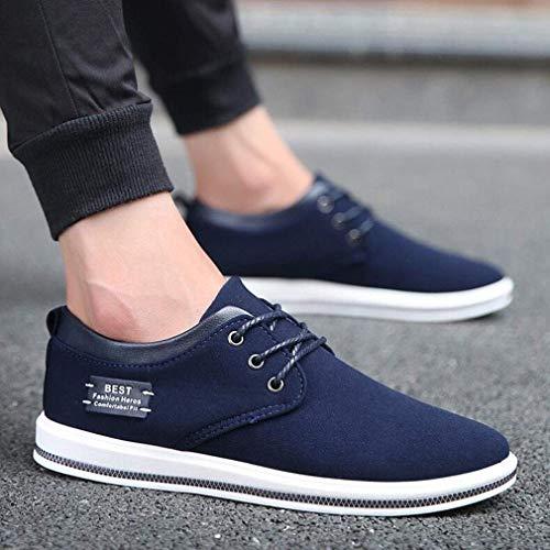 WIN&FACATORY Heren Jurk Schoenen Zwart Blauw Business Casual Ademende Comfort Sneakers (kleur: ZWART, Maat : EU39/UK6.5/CN40) Eu39/Uk6.5/Cn40-blue