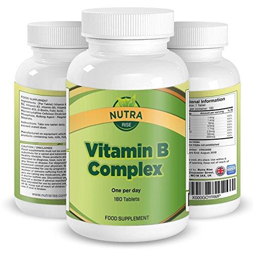 Compuesto de Vitamina B, Suplemento de Alta Potencia, Contiene Todas las 8 Vitaminas B, B1, B2, B3, B5, B6, B12, D Biotina y Ácido Fólico, Suministro para 6 meses, Producido en UK – 180 pastillas