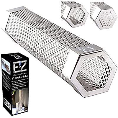 "EZ Smoker Tubes 6"" Hexagonal Pellet Smoke Tube- Turn your grill into a smoker. Included purchase are our popular E-books: 101 EZ Jerky Recipes, Low Carb Diabetic Friendly Grilling Recipes.…"