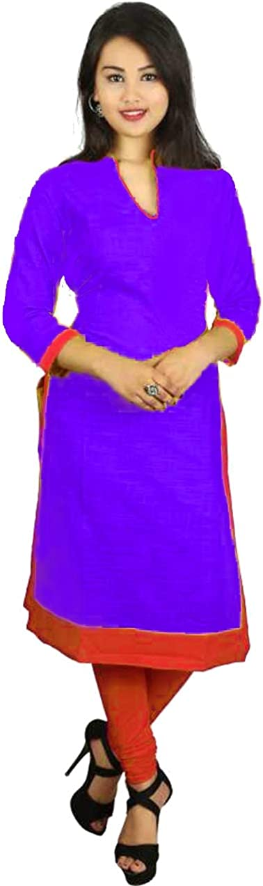 Lakkar Haveli Women's Long Dress Solid Purple Color Tunic Wedding Wear Casual Frock Suit Maxi Dress Plus Size