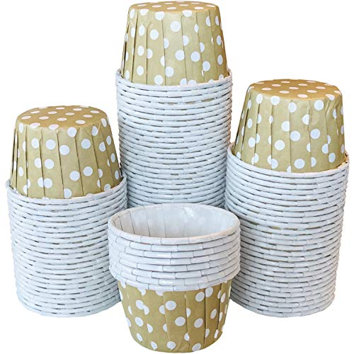 Bulk MINI Candy Nut Paper Cups - Mini Baking Liners - Gold Polka Dot - 100 Pack
