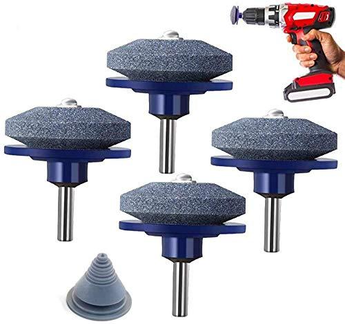 Paquete de 5 afiladores de Cuchillas para cortacésped para Cualquier Taladro eléctrico (4 afiladores de cortacésped + 1 equilibrador de Cuchillas)