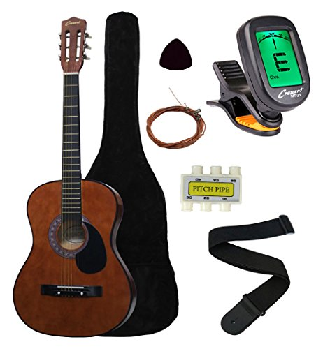 Crescent MG38-CF 38' Acoustic Guitar Starter Package, COFFEE (Includes CrescentTM Digital...