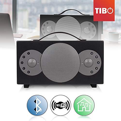 TIBO Sphere 4 | Tragbarer WLAN- und Bluetooth-Lautsprecher | Multiroom batteriebetriebener Hi-Fi-Lautsprecher mit Internetradio für zu Hause oder im Freien| Acht Stunden Wiedergabedauer | Schwarz
