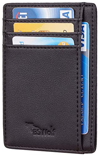 BSWolf RFID Blocking Minimalist Credit Card Holder Slim Front Pocket Genuine Leather Wallets for Men & Women (Smooth Black)