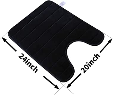 "FindNew Contour Bath Rugs, U-Shaped Bath Mats,Soft Memory Foam Bathroom Carpet, Nonslip Toilet Floor Mat,Machine Wash (19""X 23"", Black)"