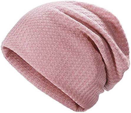 ZLYC Women Fashion Knit Slouchy Beanie Hat Thin Stretch Skull Caps Solid Pink product image