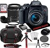Canon EOS Rebel T7i DSLR Camera w/Canon EF-S 18-55mm Zoom Lens, 64GB Memory Card, Camera Case & Bundle