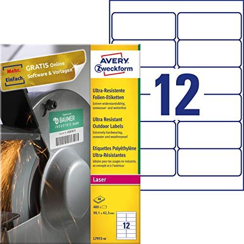 AVERY Zweckform L7913-40 Strapazierfähige Folienetiketten (99,1x42,3 mm auf DIN A4, extrem stark selbstklebend, wasserfest, bedruckbare Outdoor Klebefolie) 480 Aufkleber auf 40 Blatt weiß
