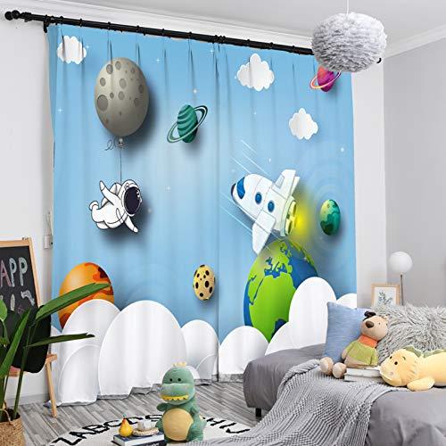 Nileco Wärmeisolierender Lärmschutz Vorhänge Wohnzimmer UV Schutz,Kinderzimmer Vorhänge Wärmeisolierender,Verdunklungs Cartoons Vorhänge Mit Haken-M W400cm X L270cm