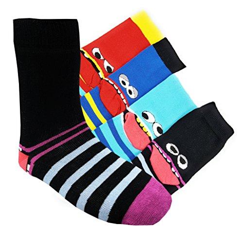 Kinder Socken handgekettelt 6 Paar aus besonders weicher Baumwolle bunter Mix Gr. 19-42 (Coole Socke, 39-42)