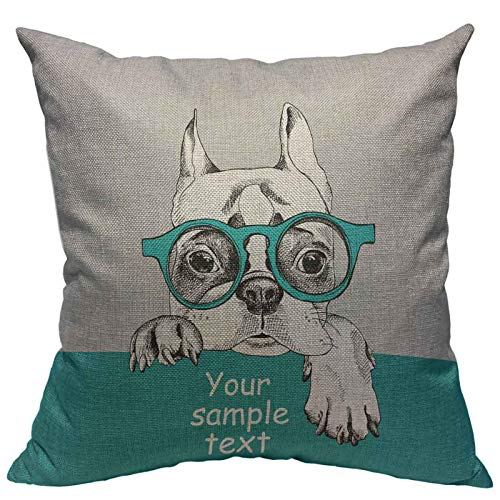Throw Pillow Cover French Bulldog Portrait In Glasses Cotton Linen Square Pillowcases Pet Black Cute Puppy White Animal Art Boston Fashion Funny Modern Cushion Cover Home Decor 18 X 18 Inch